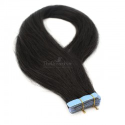 Tape-in Hair Extensions, Color #1B (Off Black), Made With Remy Indian Human Hair