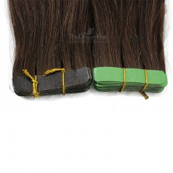Tape-in Hair Extensions, Color #2 (Darkest Brown), Made With Remy Indian Human Hair
