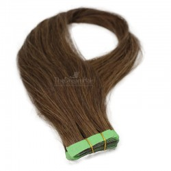 Tape-in Hair Extensions, Color #4 (Dark Brown), Made With Remy Indian Human Hair