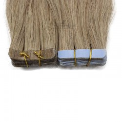 Tape-in Hair Extensions, Color #14 (Dark Ash Blonde), Made With Remy Indian Human Hair
