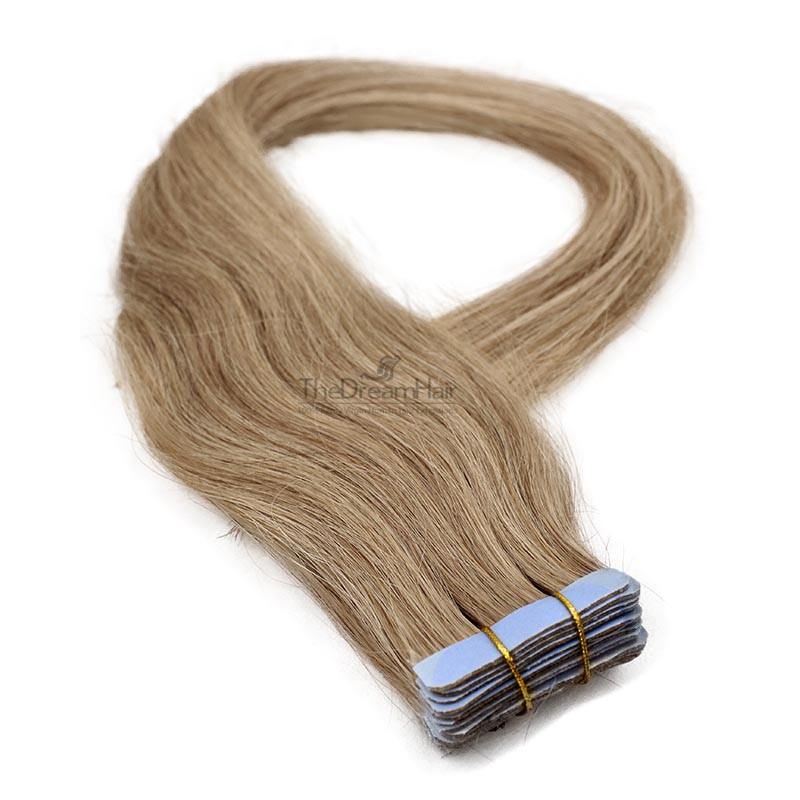 Tape-in Hair Extensions, Color #16 (Medium Ash Blonde), Made With Remy Indian Human Hair