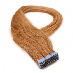 Tape-in Hair Extensions, Color #27 (Honey Blonde), Made With Remy Indian Human Hair