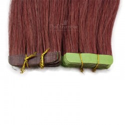 Tape-in Hair Extensions, Color #35 (Red Rust), Made With Remy Indian Human Hair