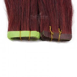 Tape-in Hair Extensions, Color #350 (Dark Copper Red), Made With Remy Indian Human Hair