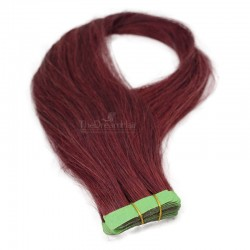 Tape-in Hair Extensions, Color #530 (Red Wine), Made With Remy Indian Human Hair