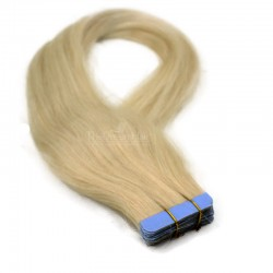 Tape-in Hair Extensions, Color #60 (Lightest Blonde), Made With Remy Indian Human Hair