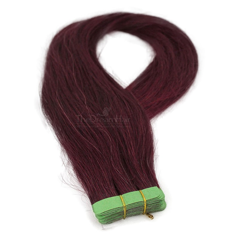 Tape-in Hair Extensions, Color #99j (Burgundy), Made With Remy Indian Human Hair