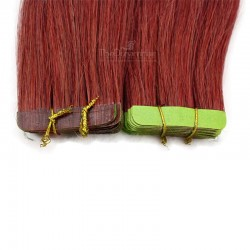 Tape-in Hair Extensions, Color Red, Made With Remy Indian Human Hair