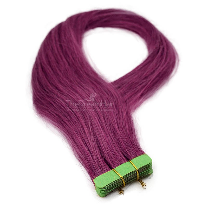 Tape-in Hair Extensions, Color Purple, Made With Remy Indian Human Hair