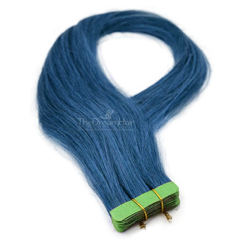 Tape-in Hair Extensions, Color Blue, Made With Remy Indian Human Hair