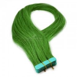 Tape-in Hair Extensions, Color Green, Made With Remy Indian Human Hair