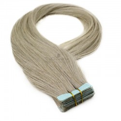 Tape-in Hair Extensions, Color Grey, Made With Remy Indian Human Hair