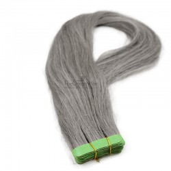 Tape-in Hair Extensions, Color Silver, Made With Remy Indian Human Hair