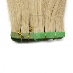 Tape-in Hair Extensions, Color 22 (Light Pale Blonde), Made With Remy Indian Human Hair