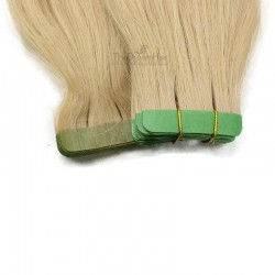 Tape-in Hair Extensions, Color 24 (Light Pale Blonde), Made With Remy Indian Human Hair