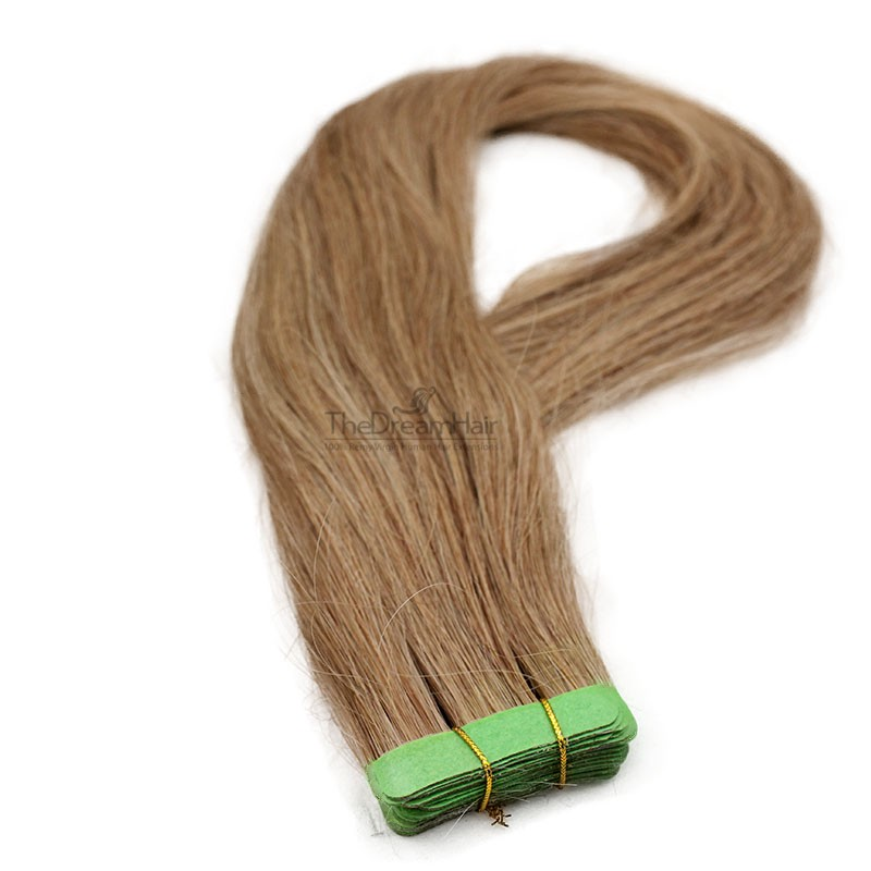 Tape-in Hair Extensions, Color 12 (Light Brown), Made With Remy Indian Human Hair