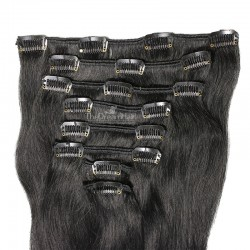 Set of 8 Pieces of Weft, Clip in Hair Extensions, Color #1 (Jet Black), Made With Remy Indian Human Hair