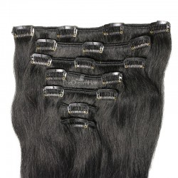 Set of 7 Pieces of Weft, Clip in Hair Extensions, Color #1 (Jet Black), Made With Remy Indian Human Hair