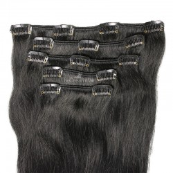 Set of 5 Pieces of Weft, Clip in Hair Extensions, Color #1 (Jet Black), Made With Remy Indian Human Hair