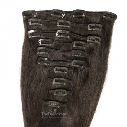 Set of 10 Pieces of Weft, Clip in Hair Extensions, Color #1B (Off Black), Made With Remy Indian Human Hair