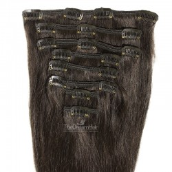 Set of 8 Pieces of Weft, Clip in Hair Extensions, Color #1B (Off Black), Made With Remy Indian Human Hair