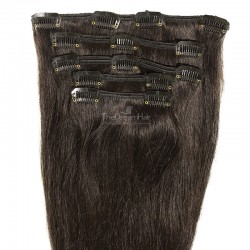Set of 5 Pieces of Weft, Clip in Hair Extensions, Color #1B (Off Black), Made With Remy Indian Human Hair