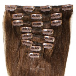 Set of 8 Pieces of Weft, Clip in Hair Extensions, Color #2 (Darkest Brown), Made With Remy Indian Human Hair