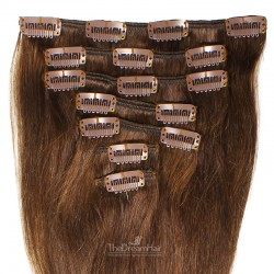 Set of 7 Pieces of Weft, Clip in Hair Extensions, Color #2 (Darkest Brown), Made With Remy Indian Human Hair