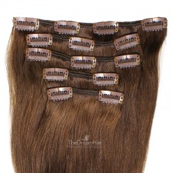 Set of 5 Pieces of Weft, Clip in Hair Extensions, Color #2 (Darkest Brown), Made With Remy Indian Human Hair