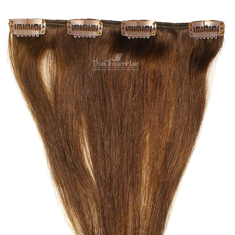 One Piece of Weft, Clip in Hair Extensions, Color #2 (Darkest Brown), Made With Remy Indian Human Hair