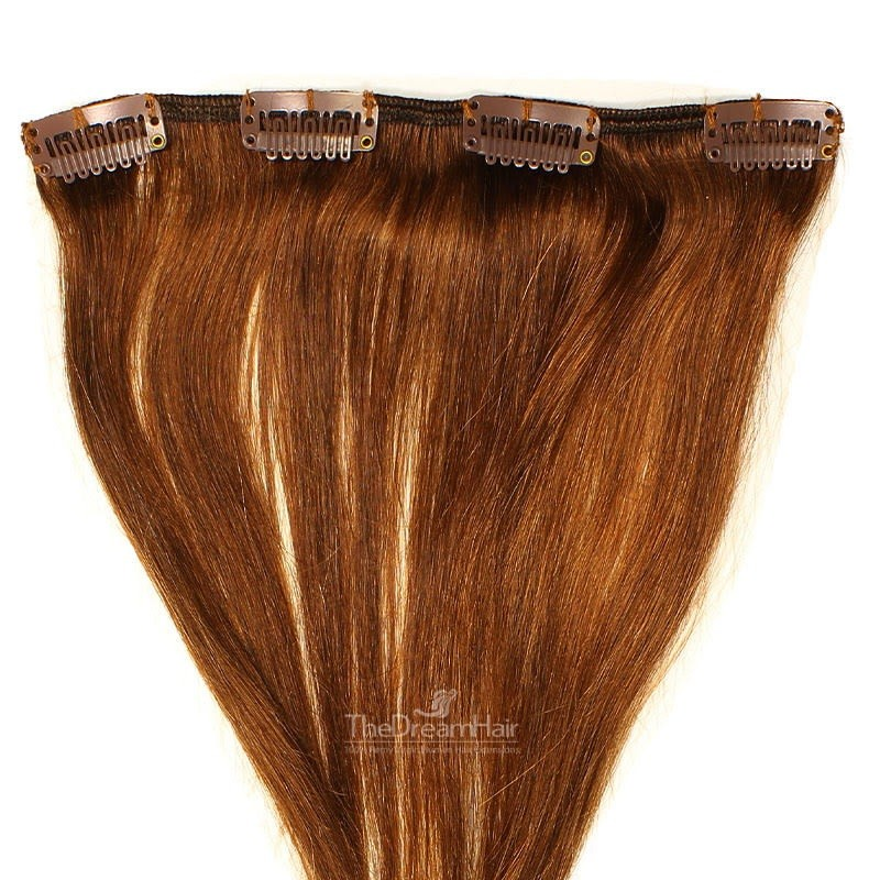 One Piece of Weft, Clip in Hair Extensions, Color #4 (Dark Brown), Made With Remy Indian Human Hair