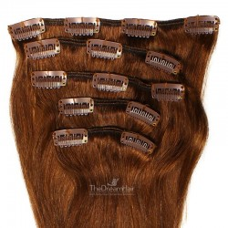 Set of 5 Pieces of Weft, Clip in Hair Extensions, Color #4 (Dark Brown), Made With Remy Indian Human Hair