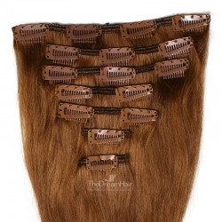 Set of 7 Pieces of Weft, Clip in Hair Extensions, Color #6 (Medium Brown), Made With Remy Indian Human Hair