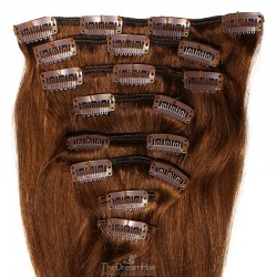 Set of 8 Pieces of Weft, Clip in Hair Extensions, Color #4 (Dark Brown), Made With Remy Indian Human Hair