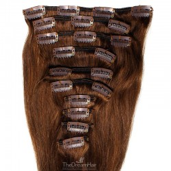 Set of 10 Pieces of Weft, Clip in Hair Extensions, Color #4 (Dark Brown), Made With Remy Indian Human Hair