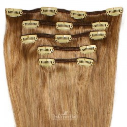Set of 5 Pieces of Weft, Clip in Hair Extensions, Color #8 (Chestnut Brown), Made With Remy Indian Human Hair