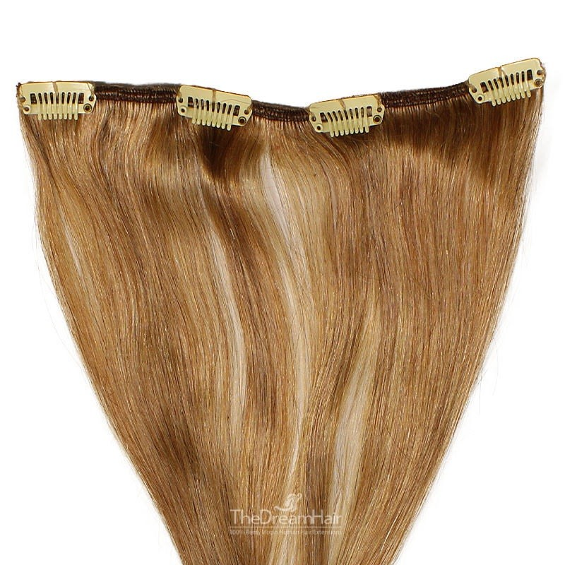 One Piece of Weft, Clip in Hair Extensions, Color #8 (Chestnut Brown), Made With Remy Indian Human Hair