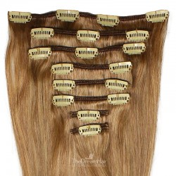 Set of 8 Pieces of Weft, Clip in Hair Extensions, Color #8 (Chestnut Brown), Made With Remy Indian Human Hair