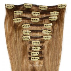 Set of 10 Pieces of Weft, Clip in Hair Extensions, Color #8 (Chestnut Brown), Made With Remy Indian Human Hair