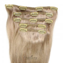 Set of 5 Pieces of Weft, Clip in Hair Extensions, Color Grey, Made With Remy Indian Human Hair