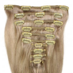 Set of 10 Pieces of Weft, Clip in Hair Extensions, Color Grey, Made With Remy Indian Human Hair
