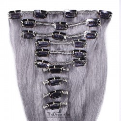 Set of 10 Pieces of Weft, Clip in Hair Extensions, Color Silver, Made With Remy Indian Human Hair