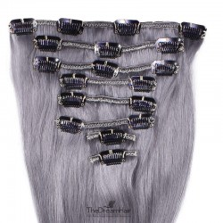 Set of 8 Pieces of Weft, Clip in Hair Extensions, Color Silver, Made With Remy Indian Human Hair