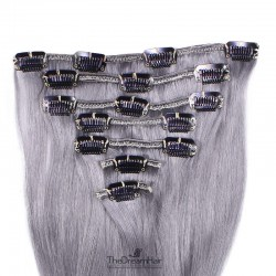 Set of 7 Pieces of Weft, Clip in Hair Extensions, Color Silver, Made With Remy Indian Human Hair