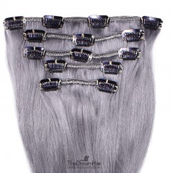 Set of 5 Pieces of Weft, Clip in Hair Extensions, Color Silver, Made With Remy Indian Human Hair