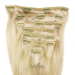 Set of 8 Pieces of Weft, Clip in Hair Extensions, Color #613 (Platinum Blonde), Made With Remy Indian Human Hair