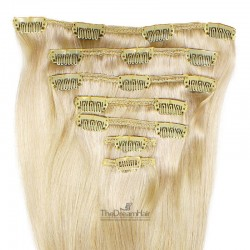 Set of 7 Pieces of Weft, Clip in Hair Extensions, Color #613 (Platinum Blonde), Made With Remy Indian Human Hair