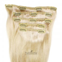 Set of 5 Pieces of Weft, Clip in Hair Extensions, Color #613 (Platinum Blonde), Made With Remy Indian Human Hair