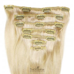 Set of 7 Pieces of Weft, Clip in Hair Extensions, Color #60 (Lightest Blonde), Made With Remy Indian Human Hair