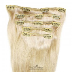 Set of 5 Pieces of Weft, Clip in Hair Extensions, Color #60 (Lightest Blonde), Made With Remy Indian Human Hair